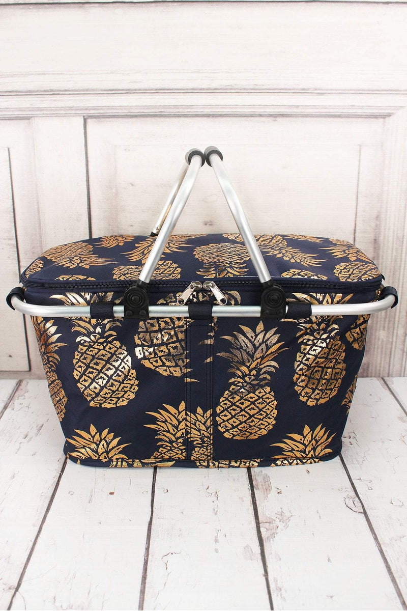 Metallic Gold Pineapple Paradise Navy Collapsible Insulated Market Basket  with Lid 669aa1768e414