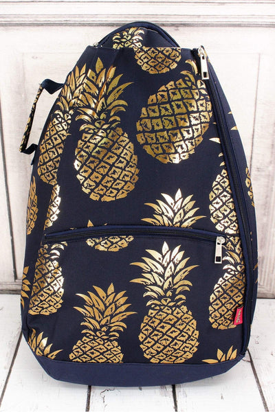 NGIL Metallic Gold Pineapple Paradise Navy Tennis Backpack