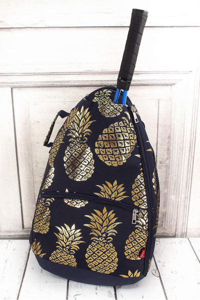 Metallic Gold Pineapple Paradise Navy Tennis Backpack #GNPL734-NAVY