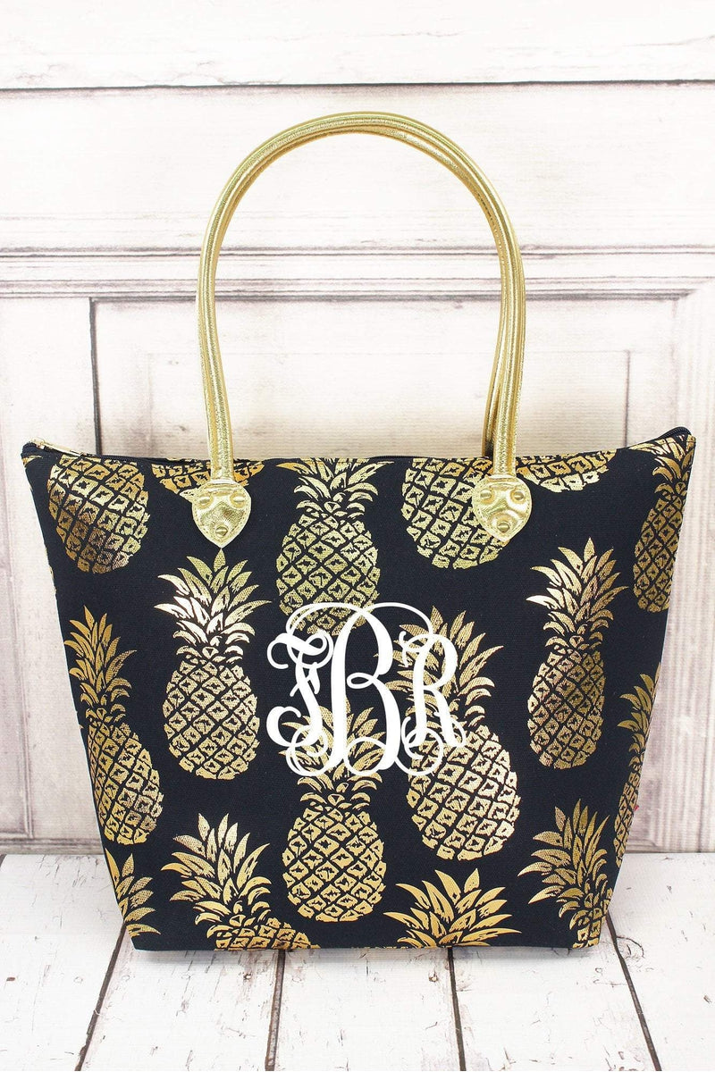 Metallic Gold Pineapple Paradise Navy Shoulder Tote #GNPL909-NAVY