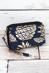NGIL Metallic Gold Pineapple Paradise Navy Quilted Crossbody Organizer Clutch