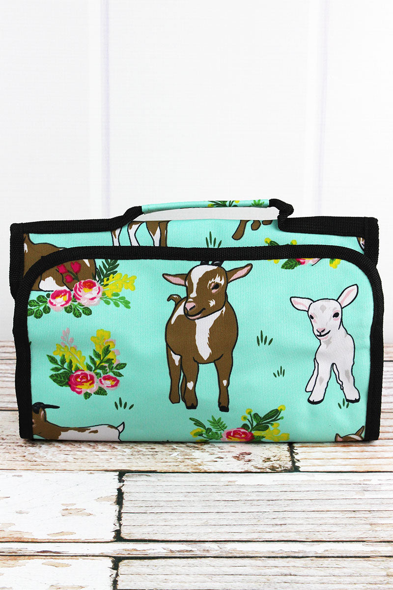 NGIL Giddy Goats Roll Up Cosmetic Bag with Black Trim