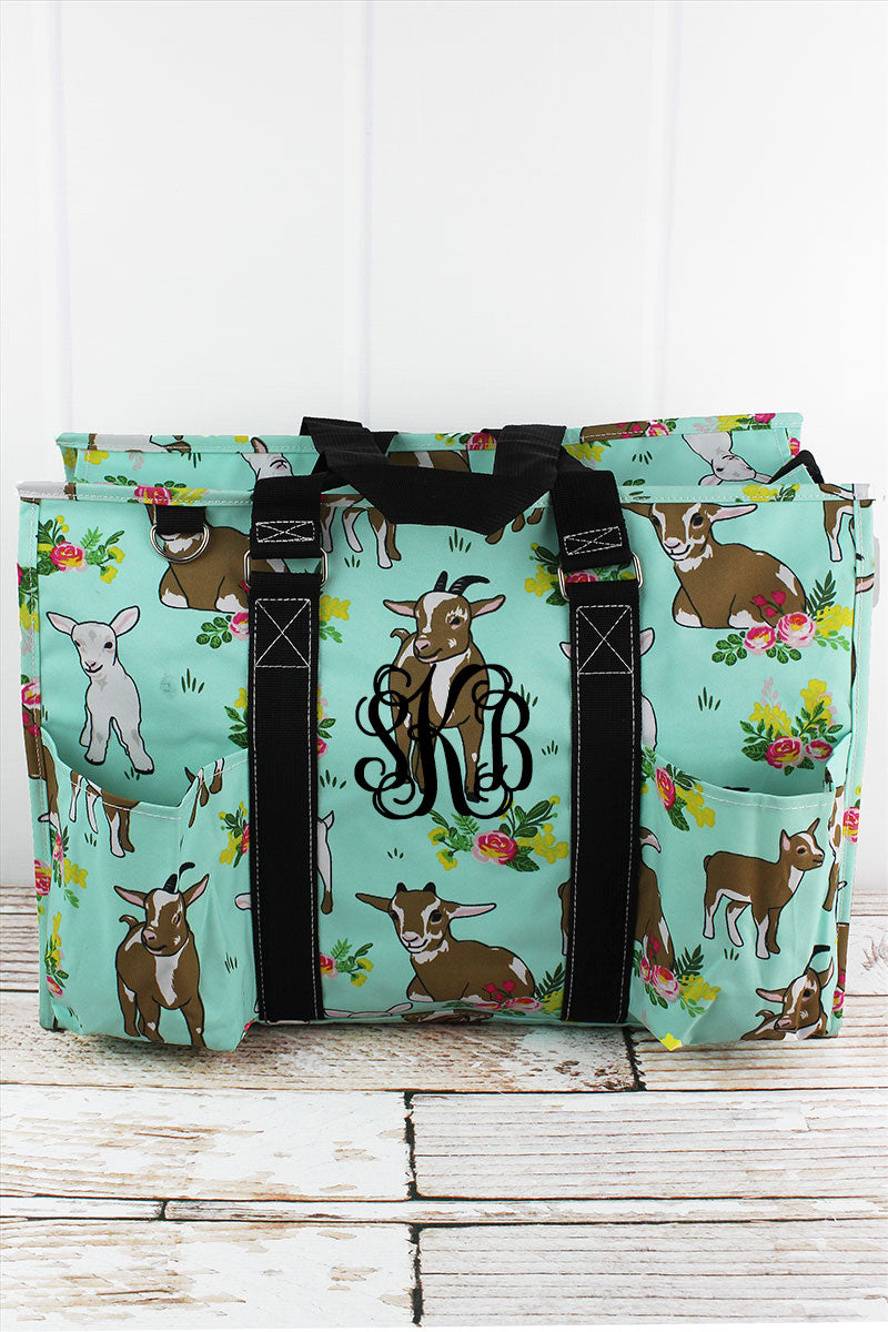 NGIL Giddy Goats with Black Trim Large Organizer Tote