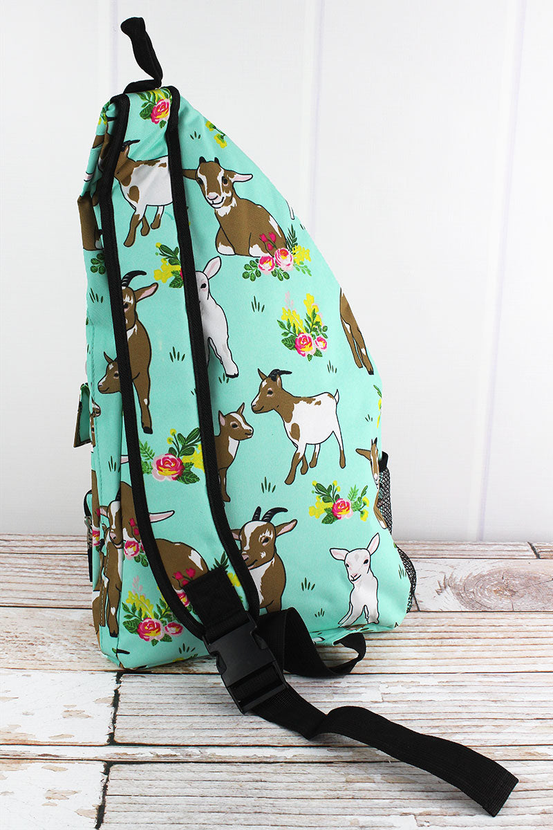 NGIL Giddy Goats Sling Backpack with Black Trim