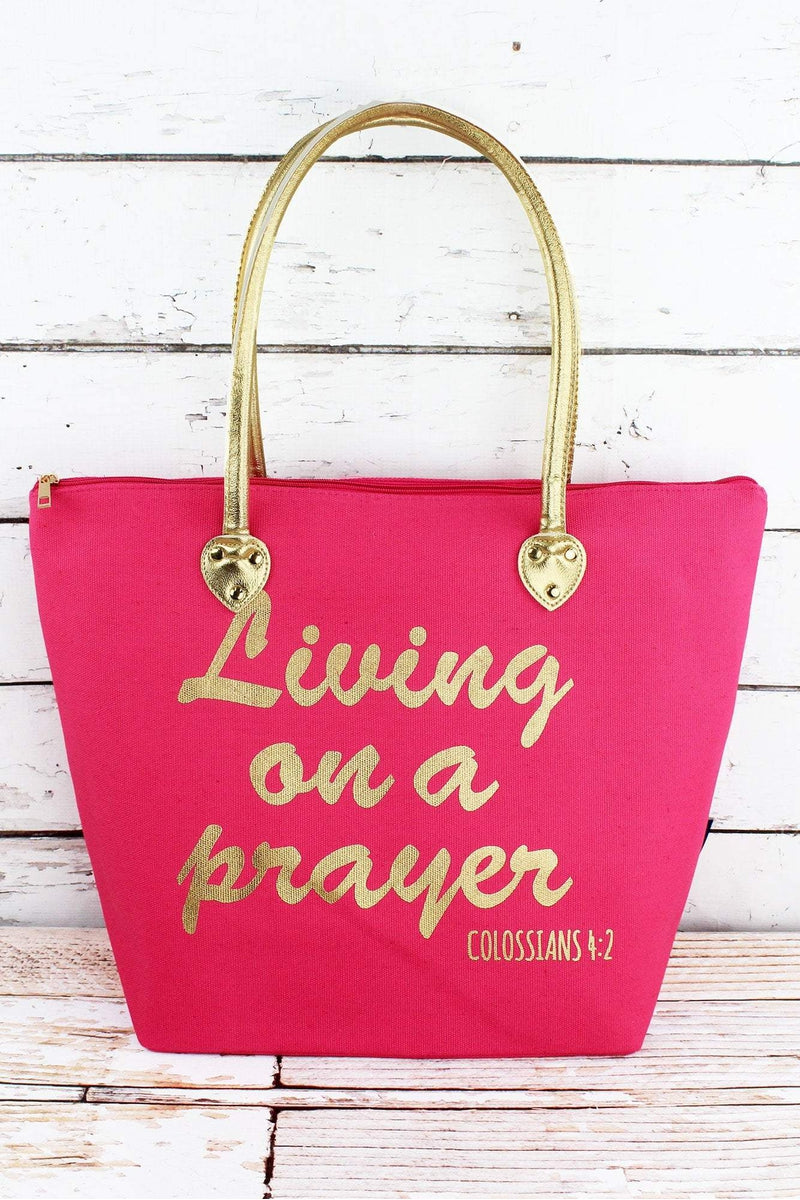 NGIL Metallic Gold 'Living on a Prayer' Coral Pink Shoulder Tote