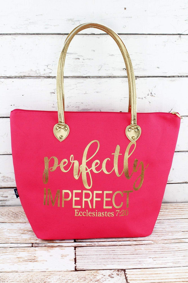 NGIL Metallic Gold 'Perfectly Imperfect' Coral Pink Shoulder Tote