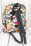 NGIL Gray Chevron Owl Party Quilted Large Backpack with Gray Trim