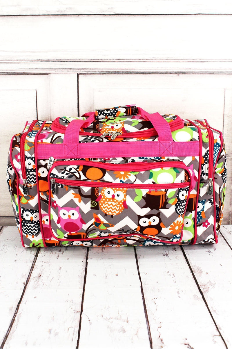 NGIL Gray Chevron Owl Party Duffle Bag with Hot Pink Trim 20""