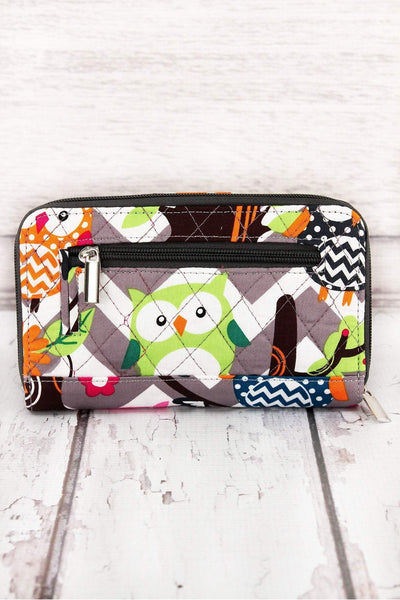 Gray Chevron Owl Party Quilted Organizer Clutch Wallet #GQL517-GRAY