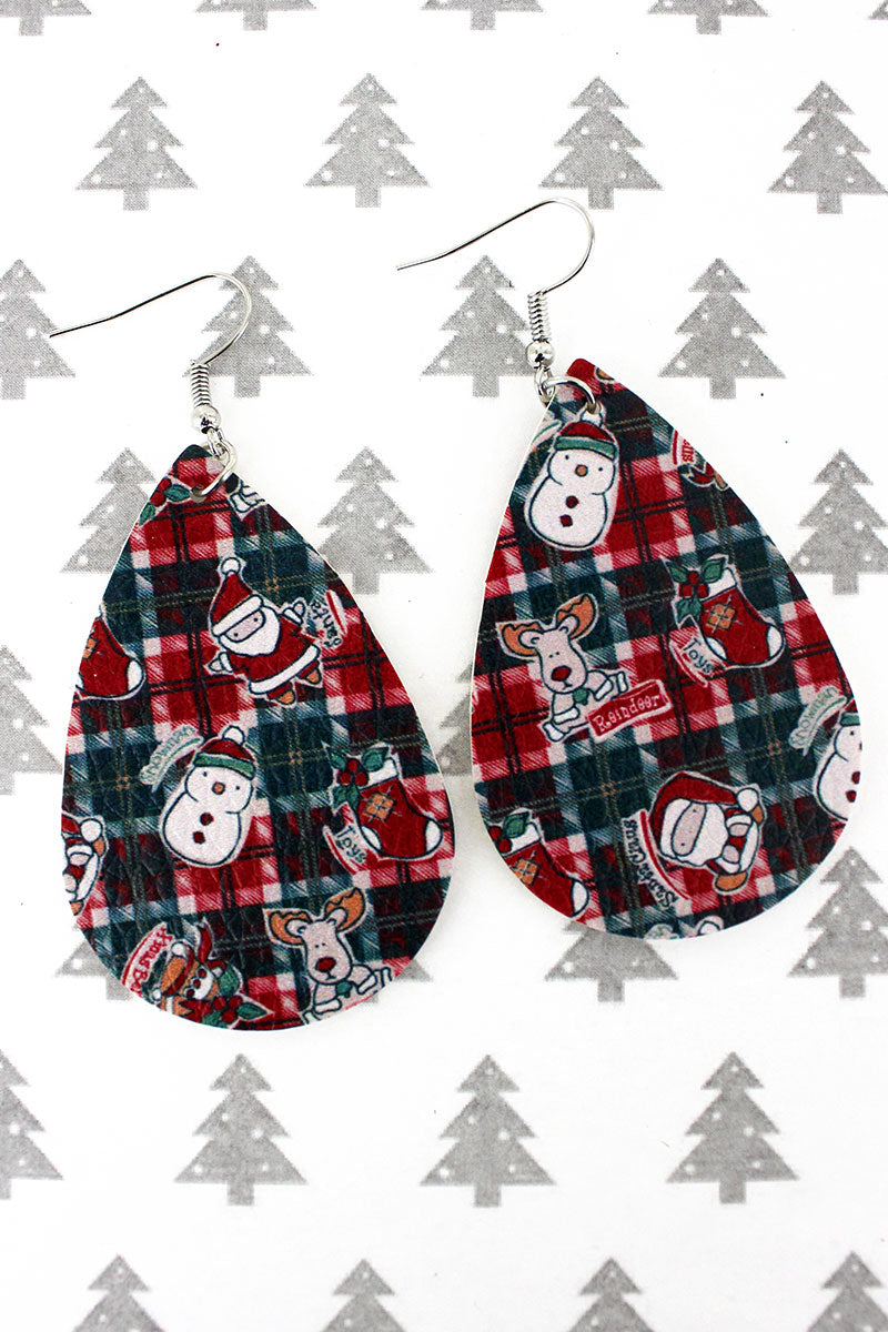 Christmas Characters Plaid Teardrop Earrings