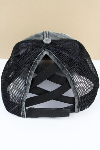 Distressed Black Mesh Ponytail Cap