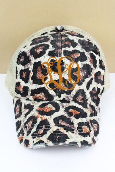 Distressed White Leopard Mesh Ponytail Cap