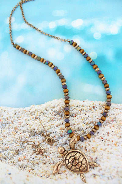 Burnished Goldtone Turtle Beaded Necklace and Earrings Set