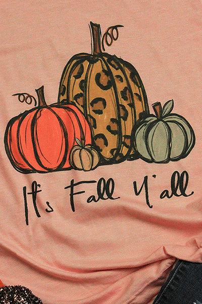 It's Fall Y'all Leopard Pumpkin Trio Unisex Blend Tee