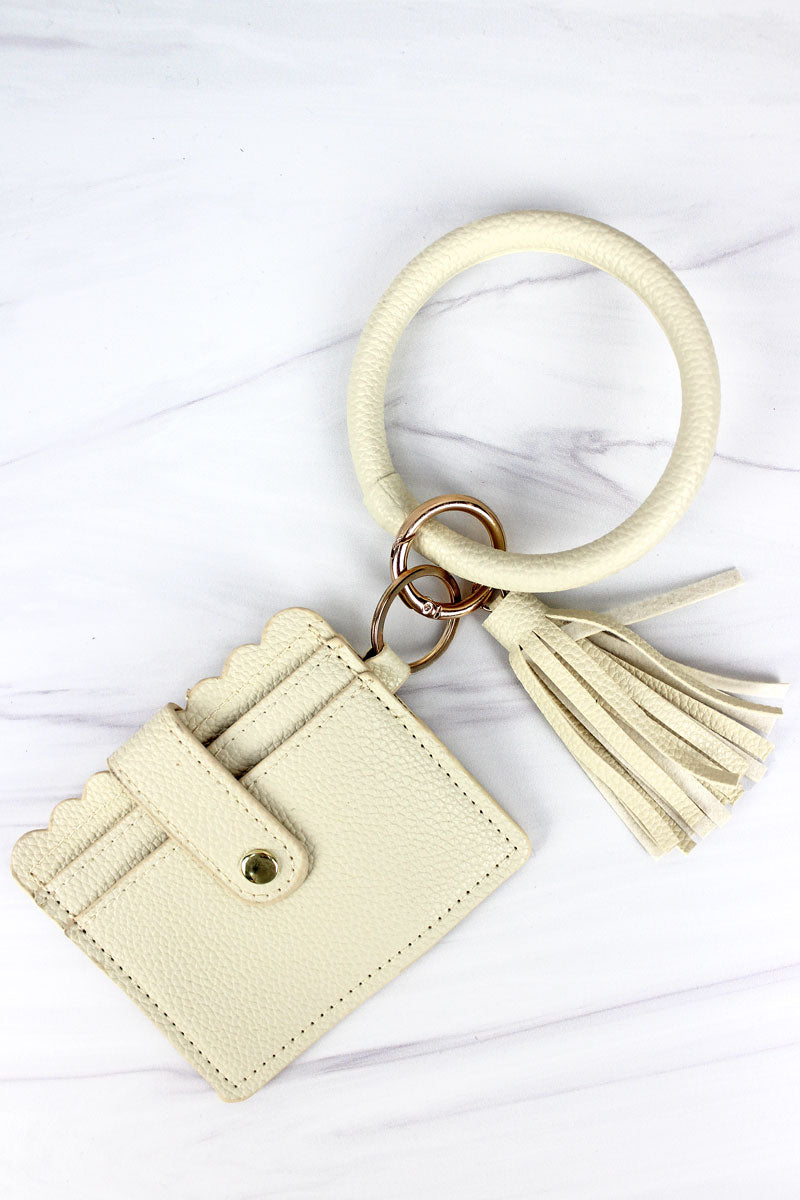 Ivory Bangle Keychain with ID Card Holder