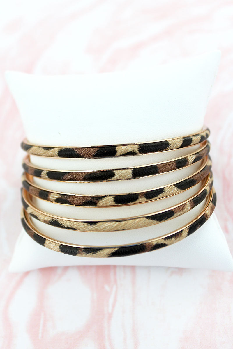 Leopard Faux Leather Bangle Set