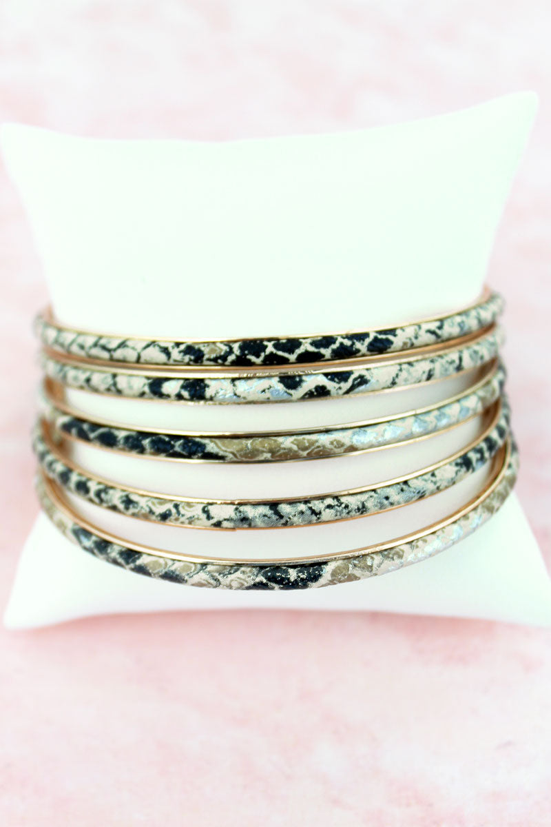Snakeskin Faux Leather Bangle Set