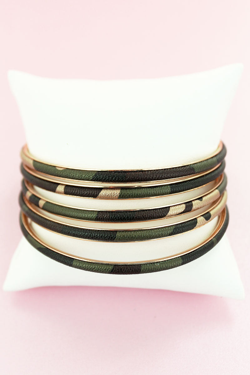 Camo Faux Leather Bangle Set