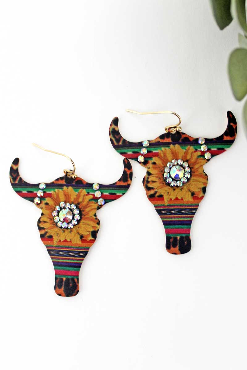 Crystal Sunflower Wild Serape Steer Head Earrings