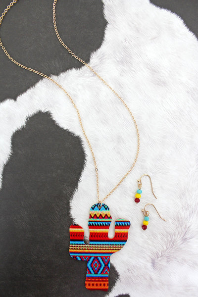 Yellow Serape Cactus Goldtone Necklace and Earrings Set