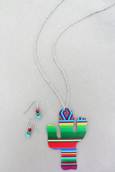 Green Serape Cactus Silvertone Necklace and Earrings Set