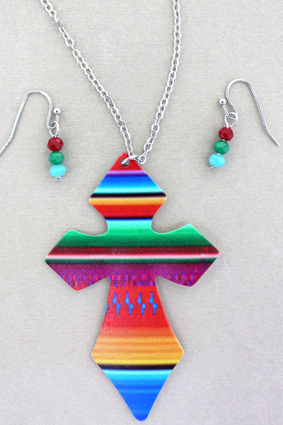 Green Serape Cross Silvertone Necklace and Earrings Set