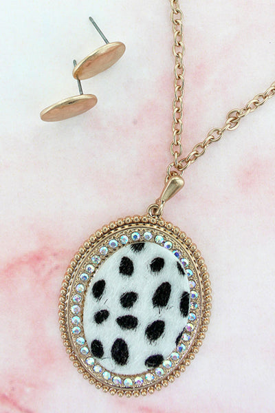 Goldtone and Crystal Trimmed White Cheetah Oval Necklace and Earrings Set