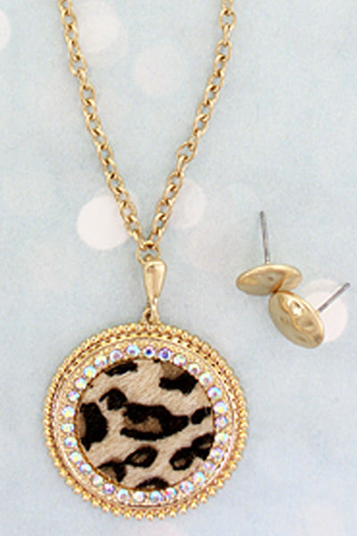 Goldtone and Crystal Trimmed Leopard Disk Necklace and Earrings Set