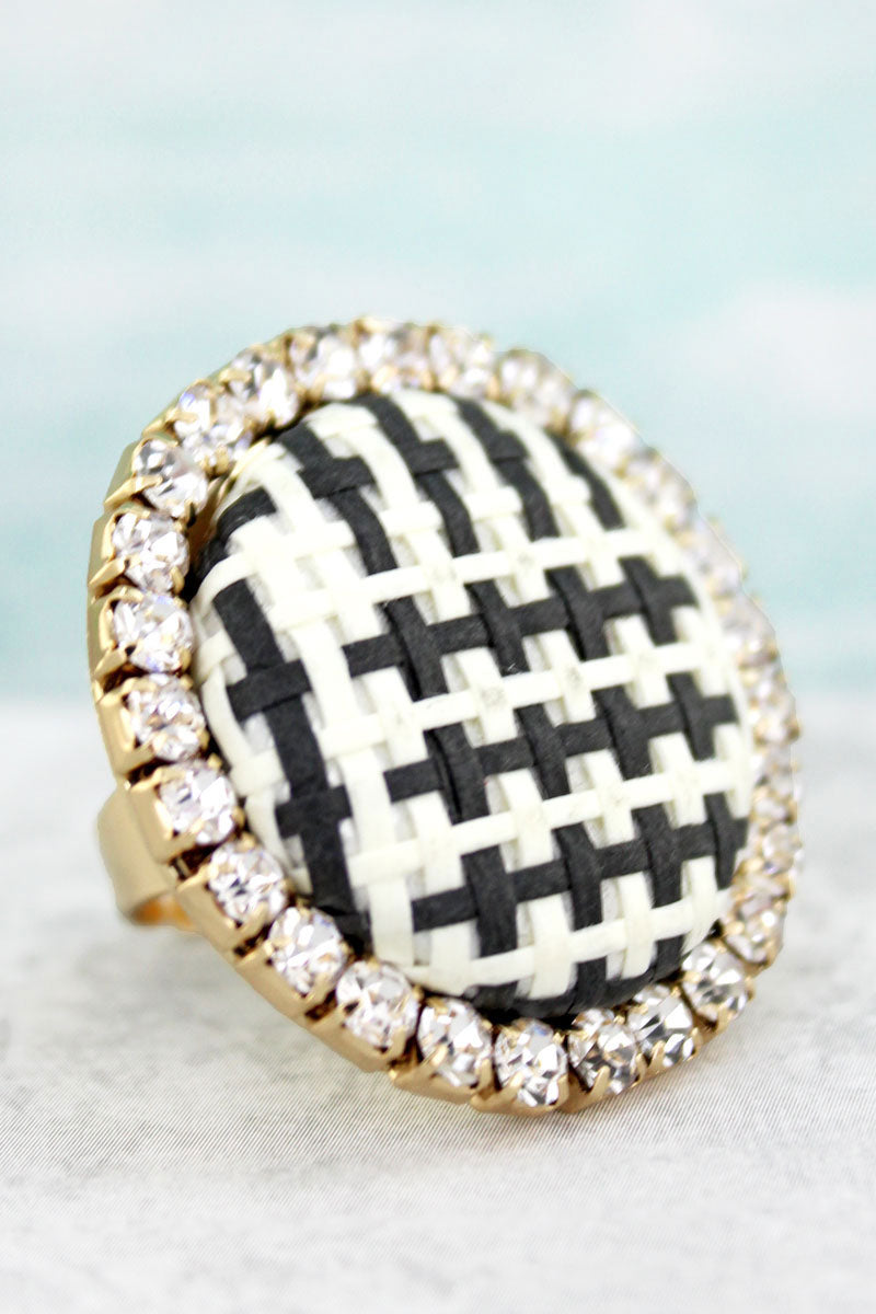 Crystal Trimmed Black and White Basket Weave Ring