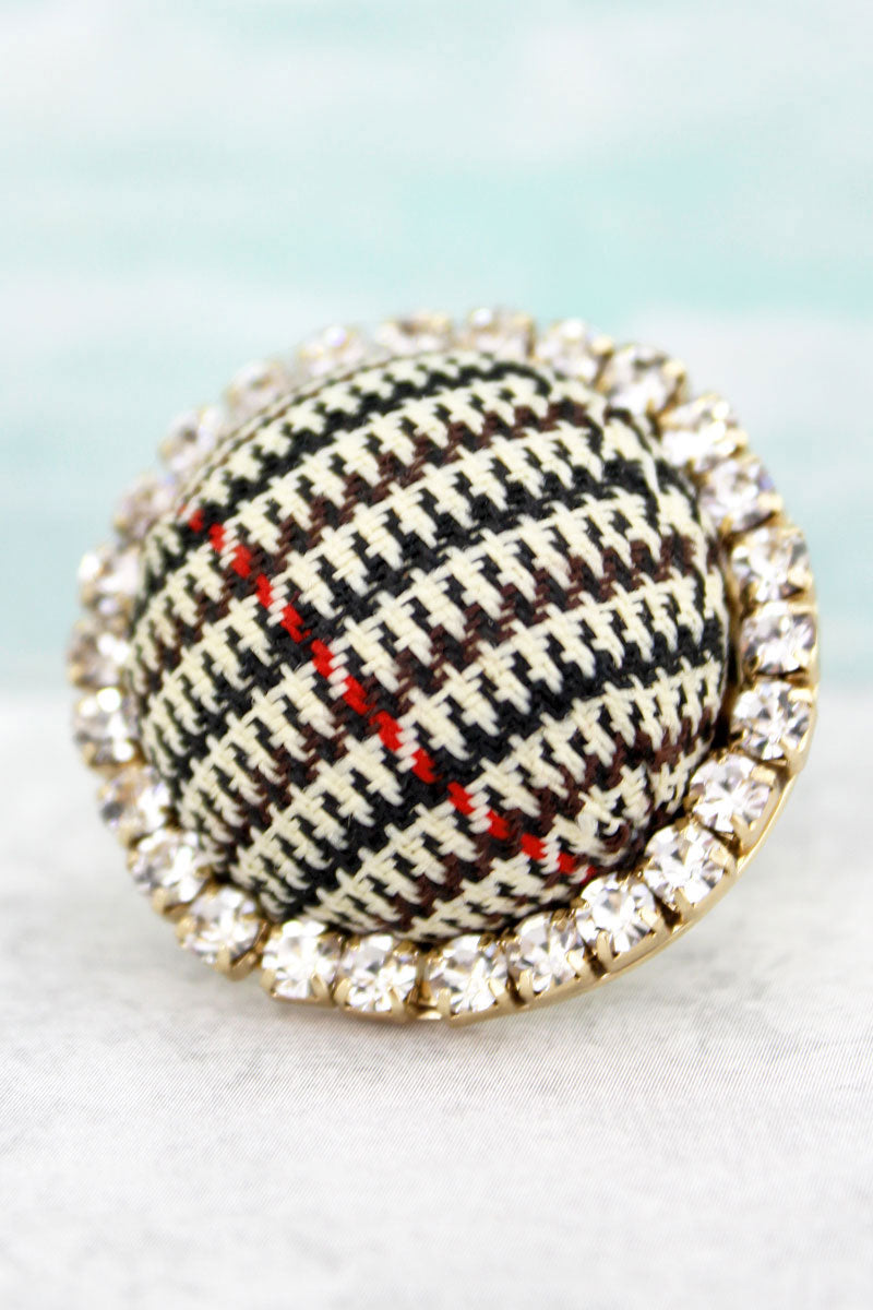 Crystal Trimmed Glen Check Dome Ring