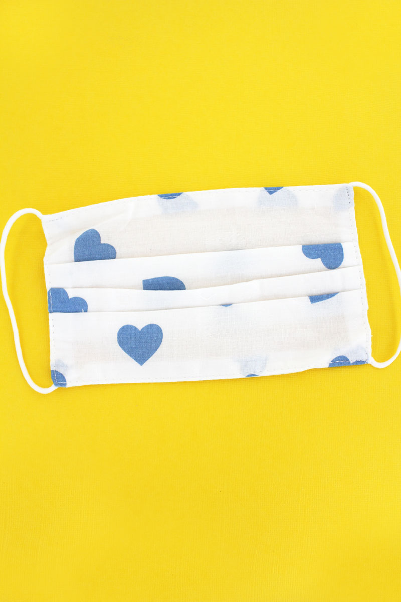 Kid's Blue Hearts Two-Layer Pleated Fashion Face Mask