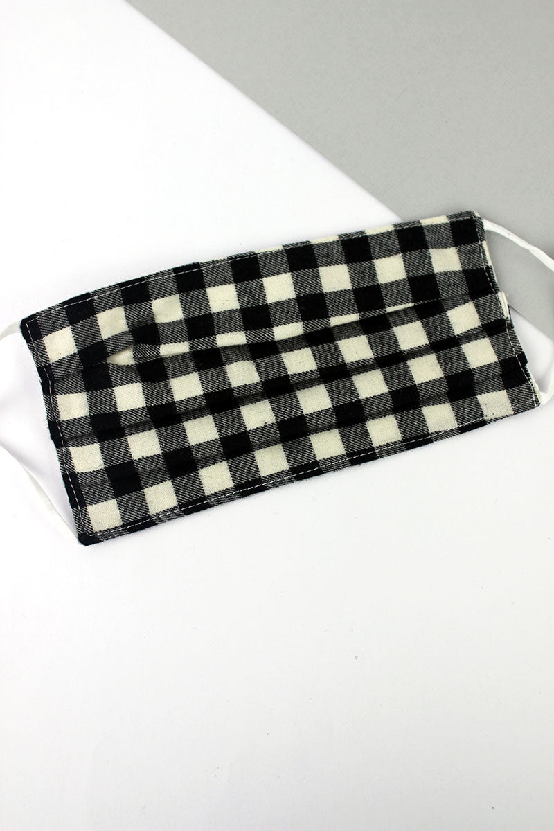 Black and White Buffalo Plaid Two-Layer Pleated Fashion Face Mask