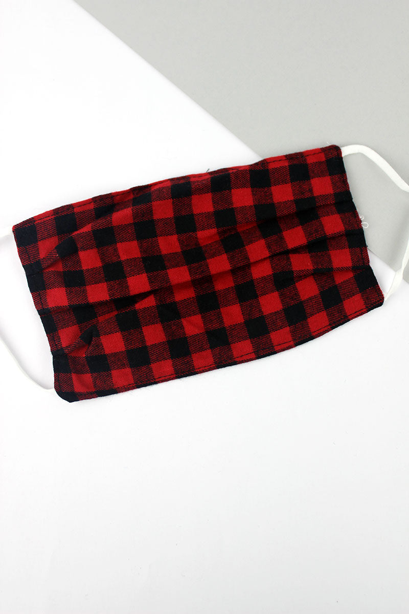 Red and Black Buffalo Plaid Two-Layer Pleated Fashion Face Mask
