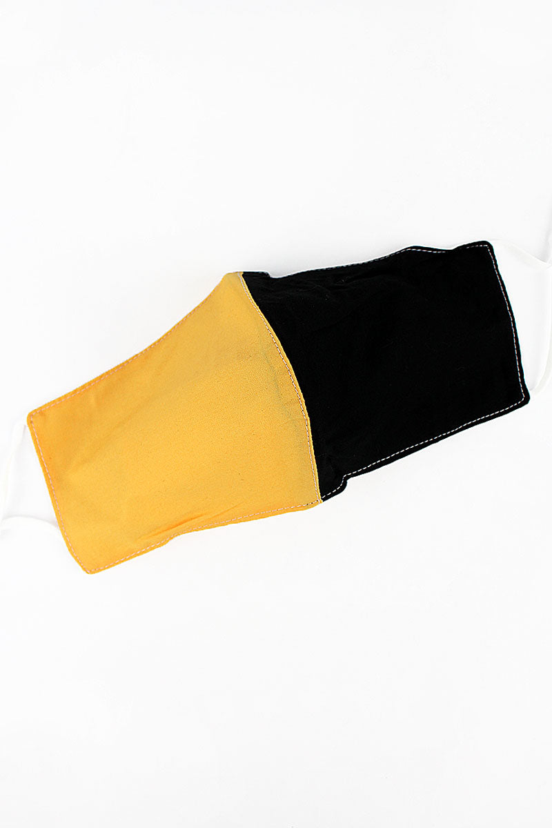 Black and Gold Colorblock Two-Layer Fashion Face Mask with Filter Pocket