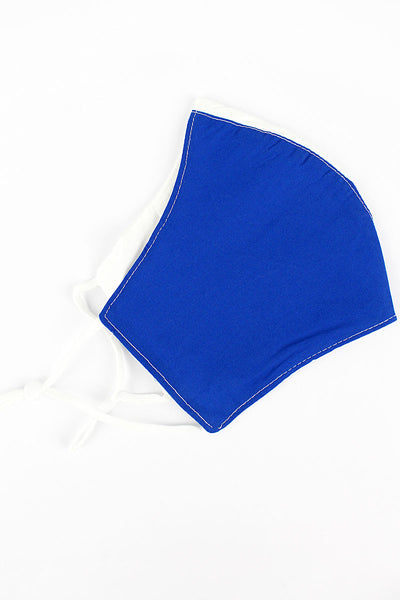 Blue and White Colorblock Two-Layer Fashion Face Mask with Filter Pocket