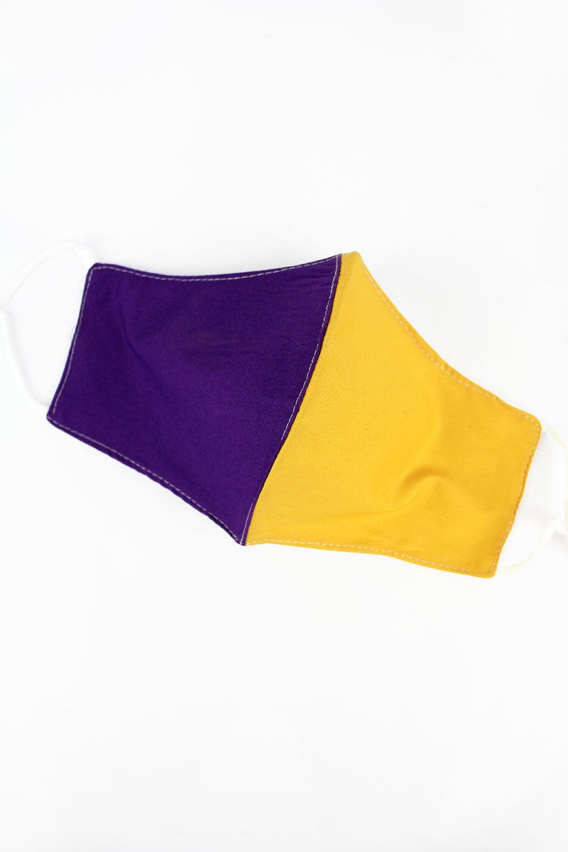 Purple and Gold Colorblock Two-Layer Fashion Face Mask with Filter Pocket