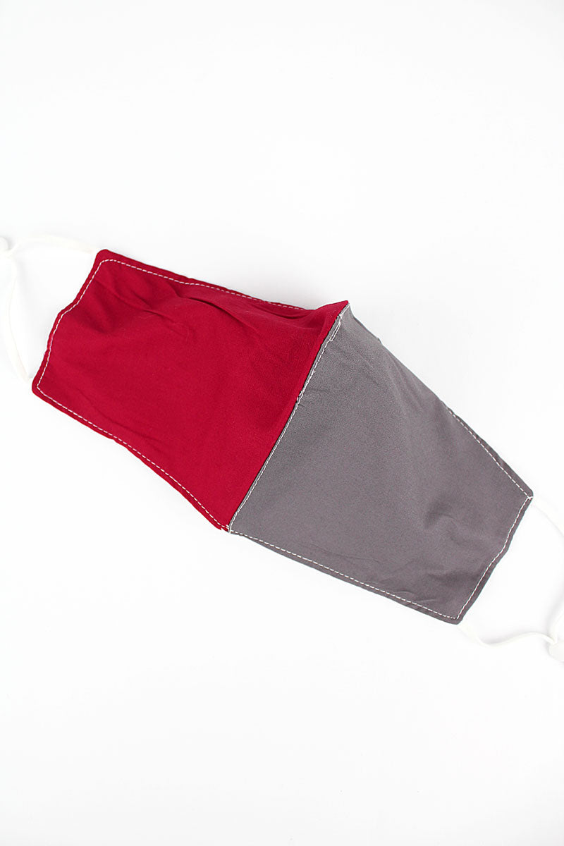 Red and Gray Colorblock Two-Layer Fashion Face Mask with Filter Pocket