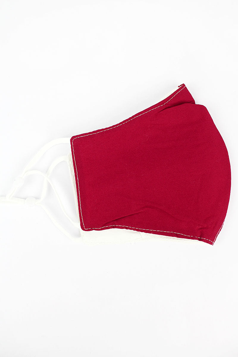 Red and White Colorblock Two-Layer Fashion Face Mask with Filter Pocket