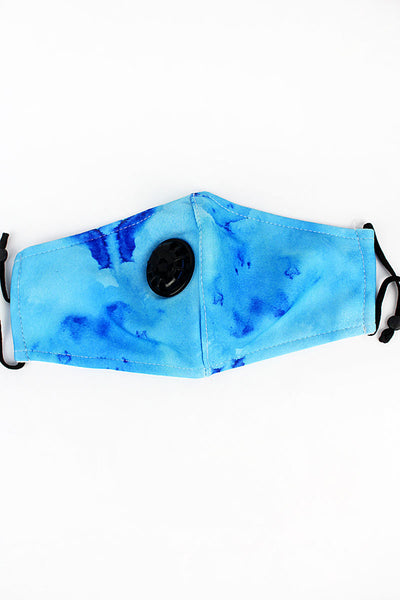 Blue Watercolor Splash Two-Layer Fashion Face Mask with Breathing Valve and Filter Pocket
