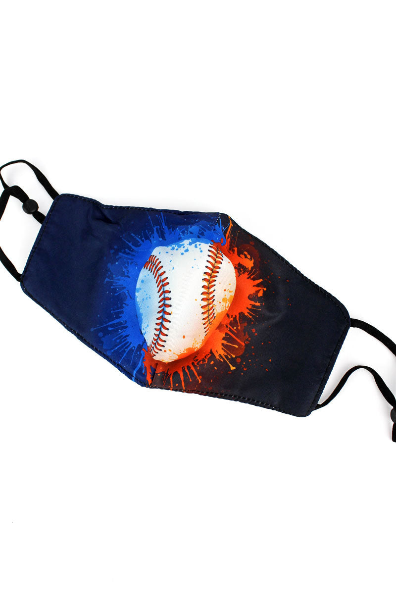 Kid's Baseball Splatter Fashion Face Mask with Quilted Filter Pocket