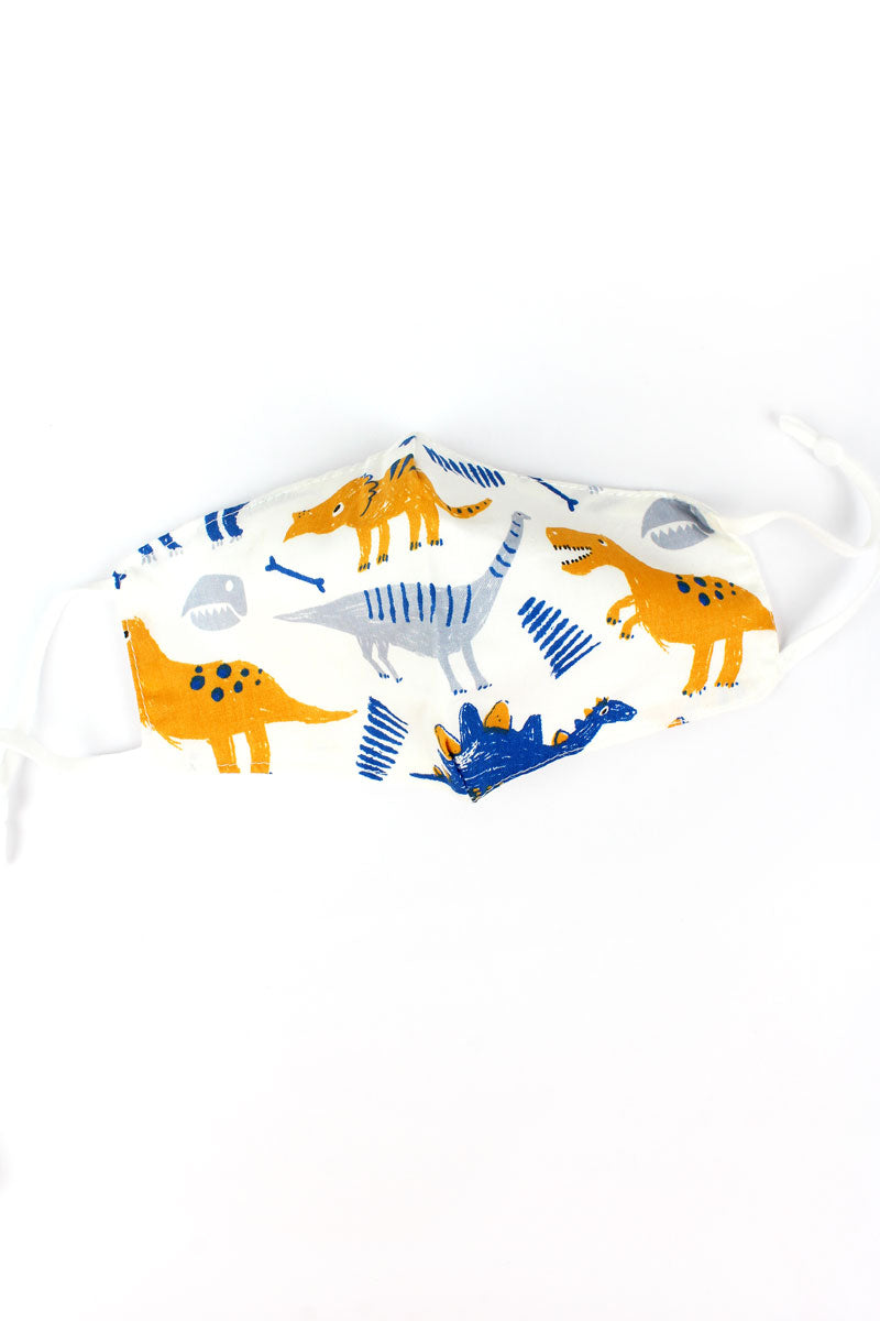 Kid's Dino Sketch Two-Layer Fashion Face Mask with Filter Pocket