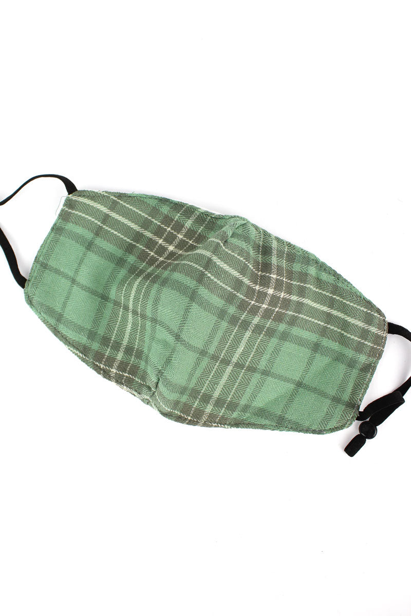 Hello Fall Green Plaid Fashion Face Mask with Quilted Filter Pocket