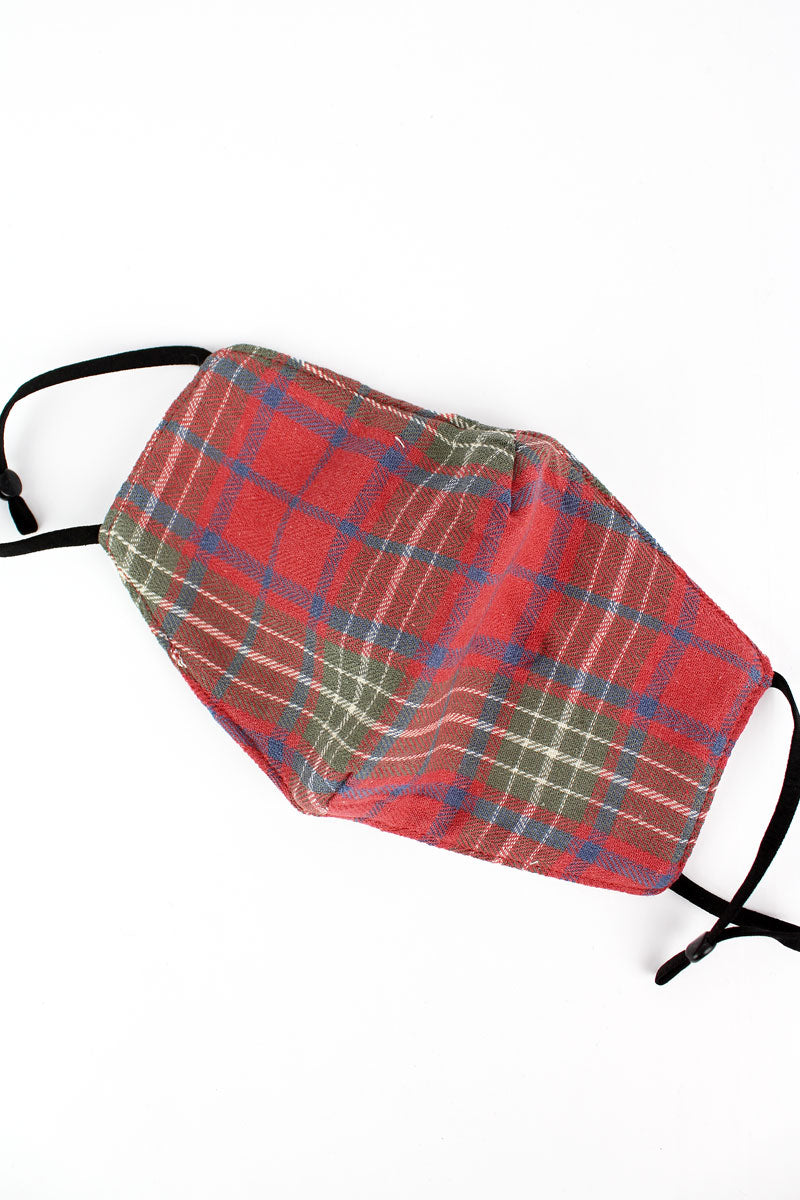 Hello Fall Red Plaid Fashion Face Mask with Quilted Filter Pocket