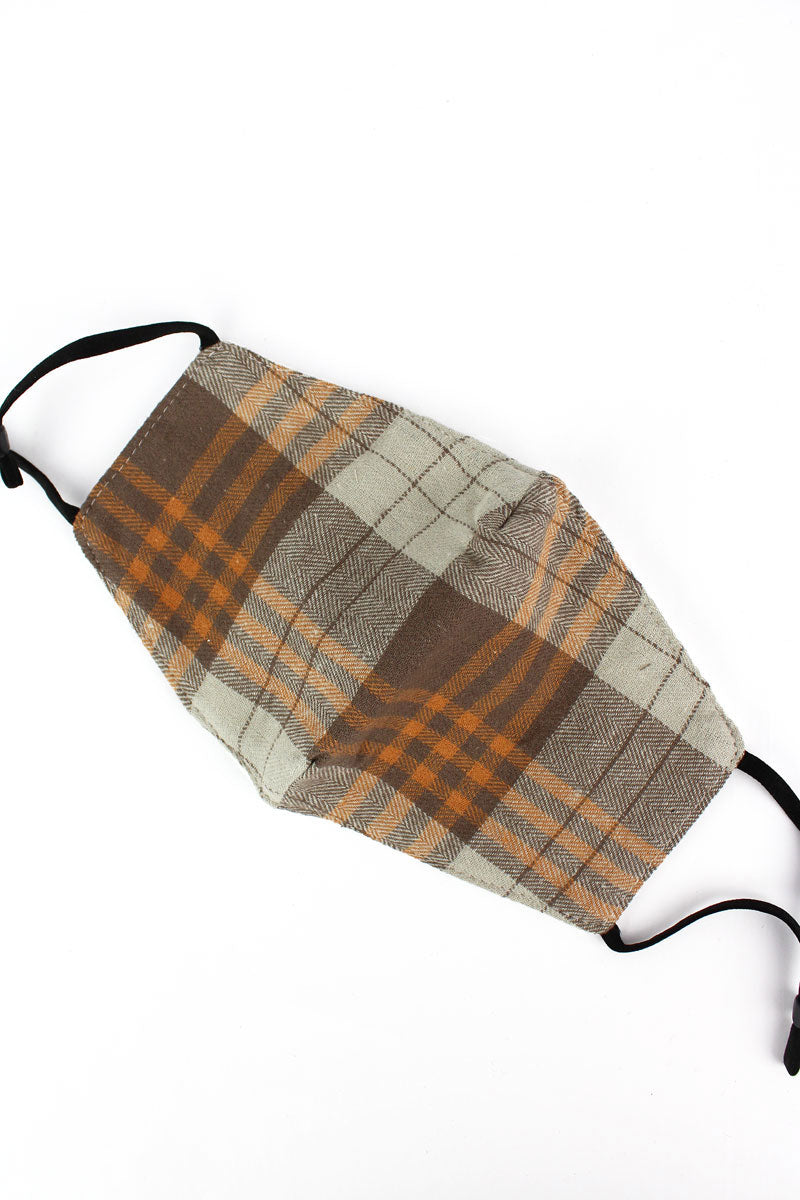 Orange Glasgow Plaid Fashion Face Mask with Quilted Filter Pocket