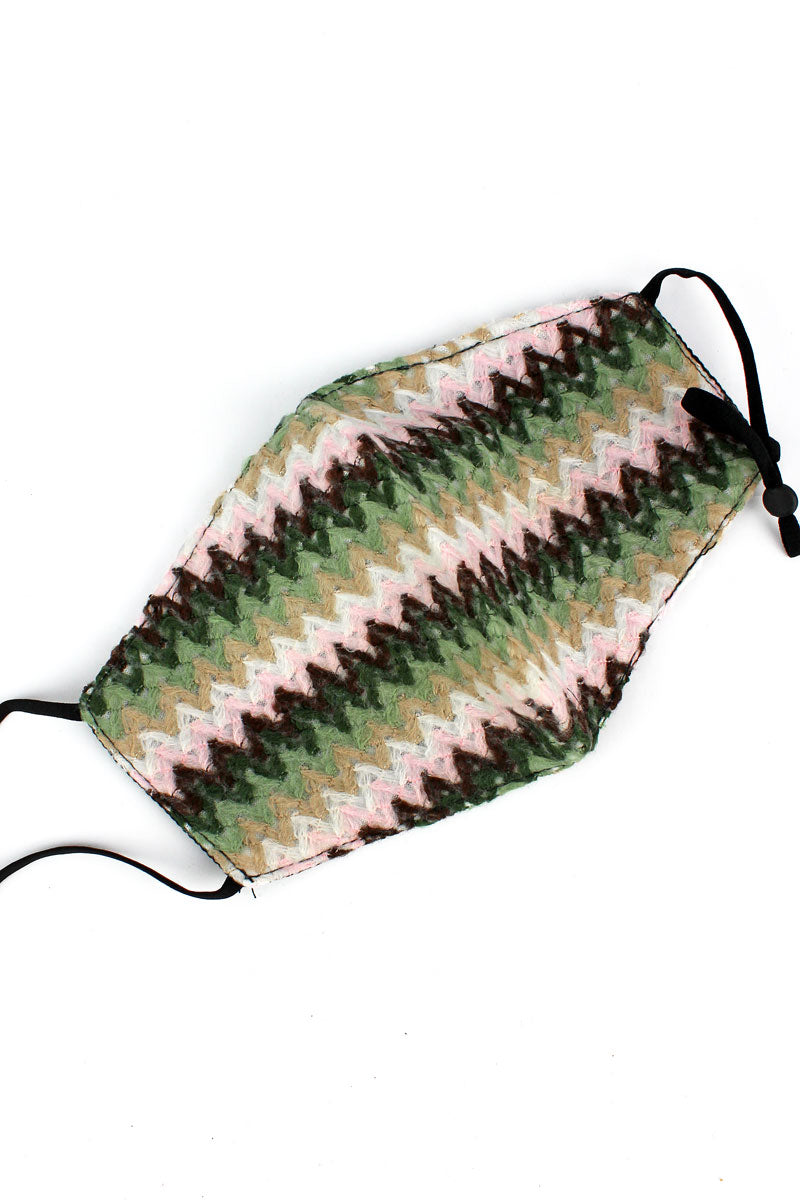 Pink Multi Chevron Woven Fashion Face Mask with Filter Pocket