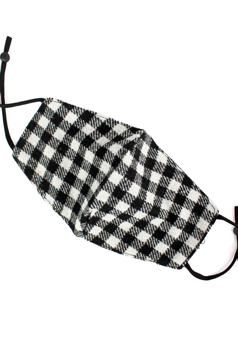 White Check Flannel Fashion Face Mask with Filter Pocket