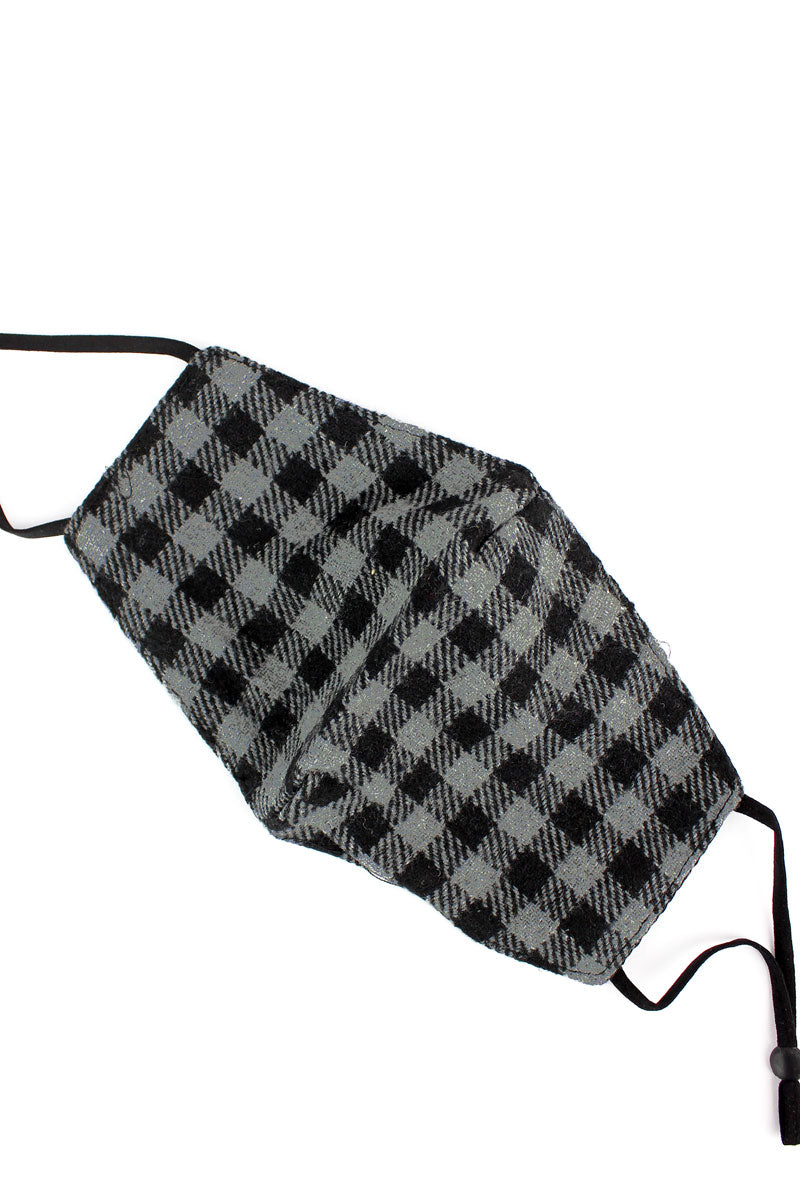 Gray Check Flannel Fashion Face Mask with Filter Pocket