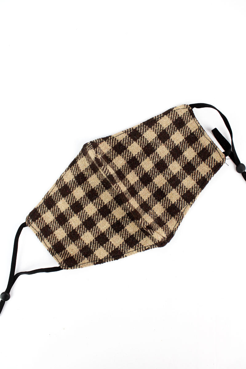 Brown Check Flannel Fashion Face Mask with Filter Pocket