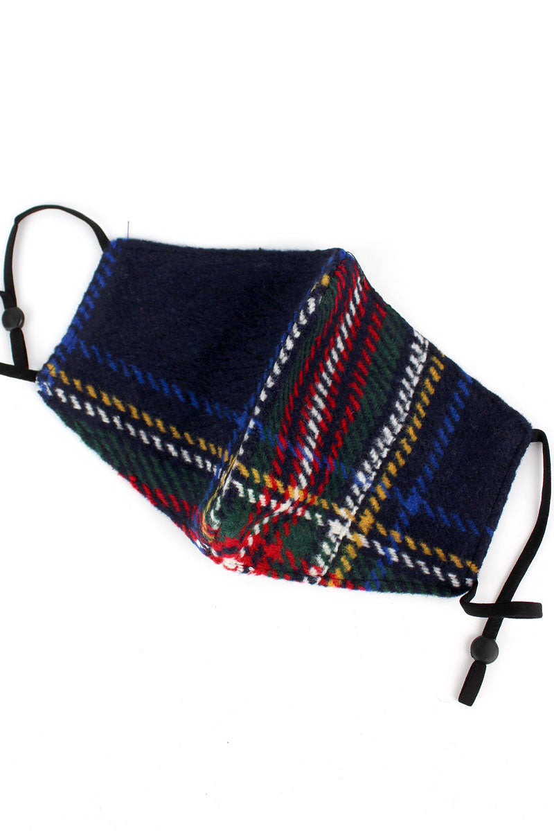 Highland Winter Navy Fashion Face Mask with Filter Pocket