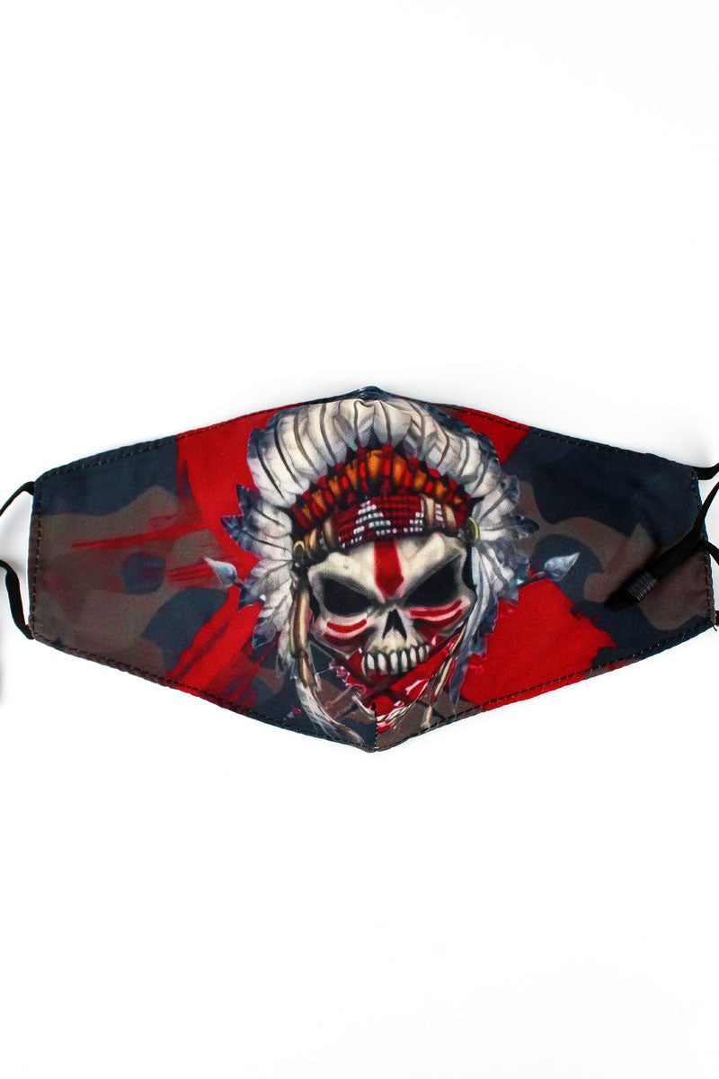 Indian Chief Skull Fashion Face Mask with Filter Pocket